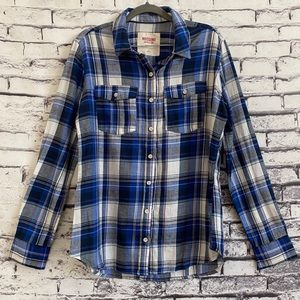 Mossimo Supply Co. Blue Long Sleeve Flannel